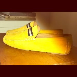 Men's calf leather driver yellow